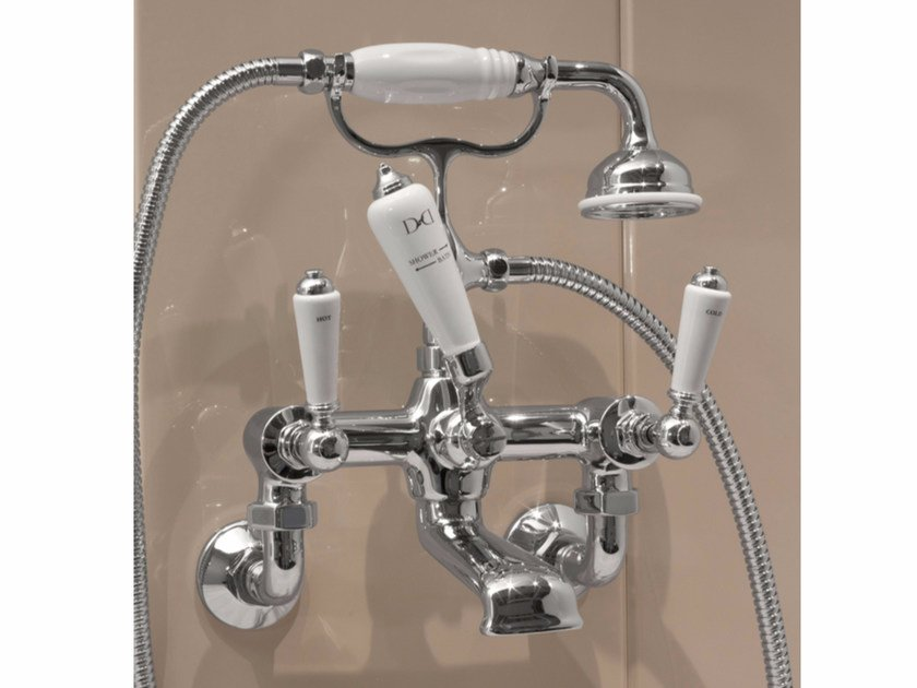 Wall-mounted bathtub tap with hand shower DANDY | Wall-mounted bathtub tap by Devon&Devon