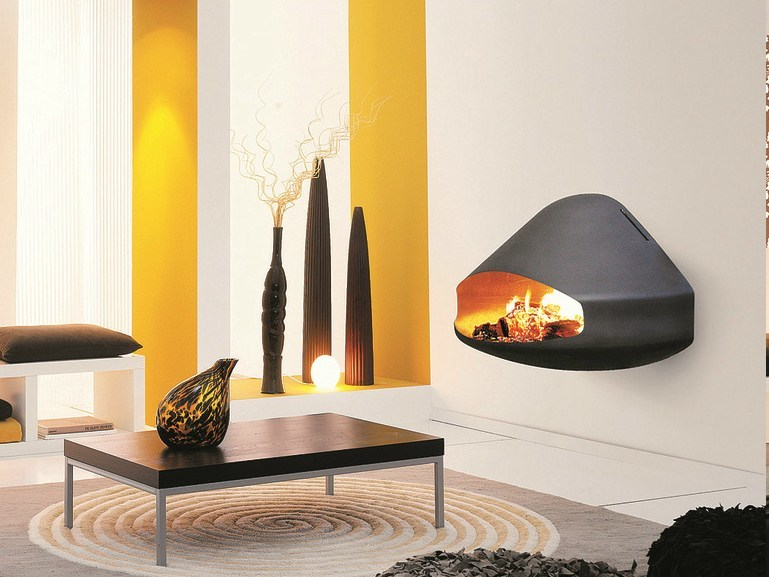 Wood-burning wall-mounted fireplace MIOFOCUS | Wall-mounted fireplace by Focus creation