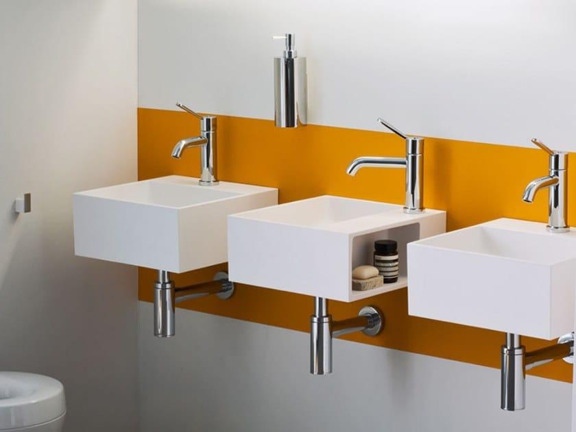Square wall-mounted Cristalplant® handrinse basin HANDWASH | Wall-mounted handrinse basin by Agape