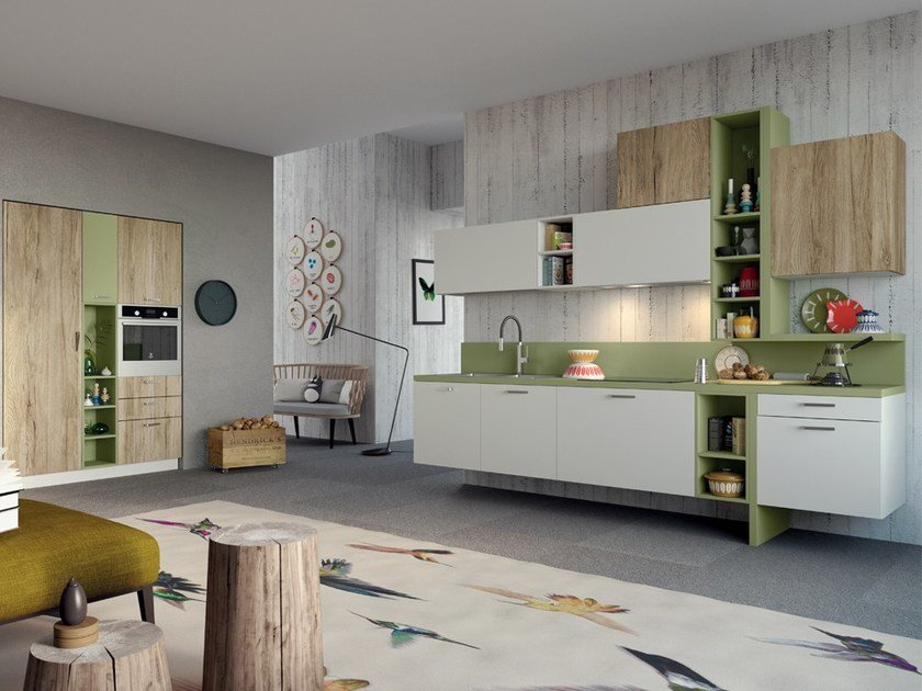 Lacquered wall-mounted laminate kitchen with handles SPRING | Wall-mounted kitchen by DIBIESSE