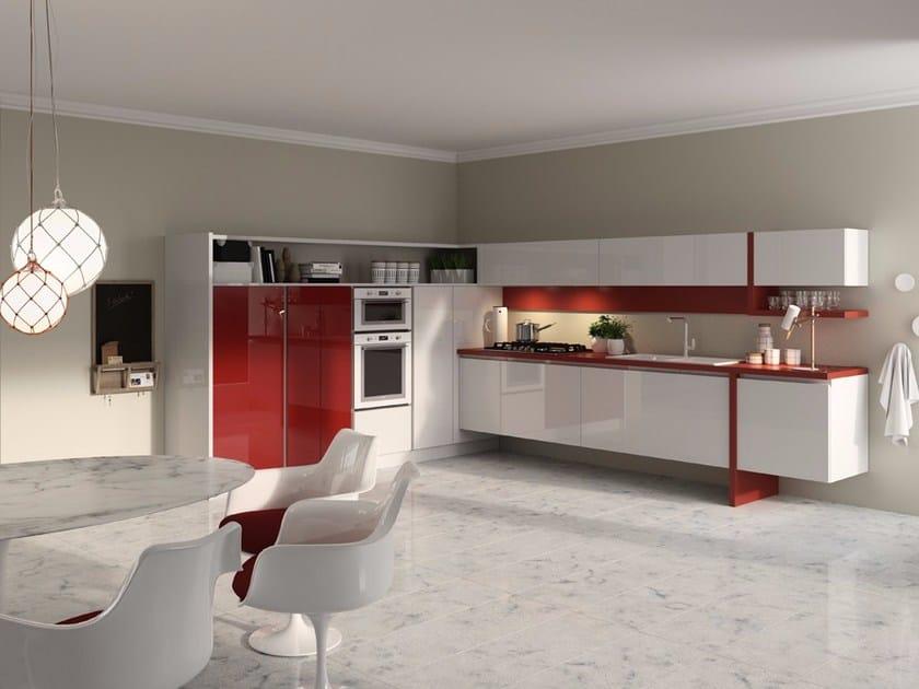Lackierte schwebende Küche aus MDF ohne Griffe EASY 13 | Schwebende ...