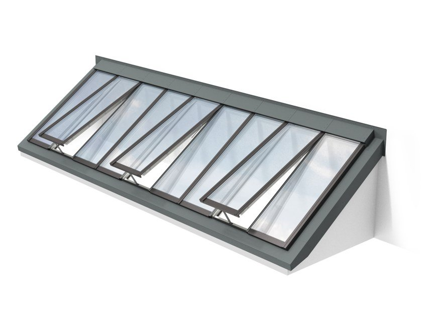 Glass and steel roof window WALL-MOUNTED LONGLIGHT 5-40° by Velux Modular Skylights