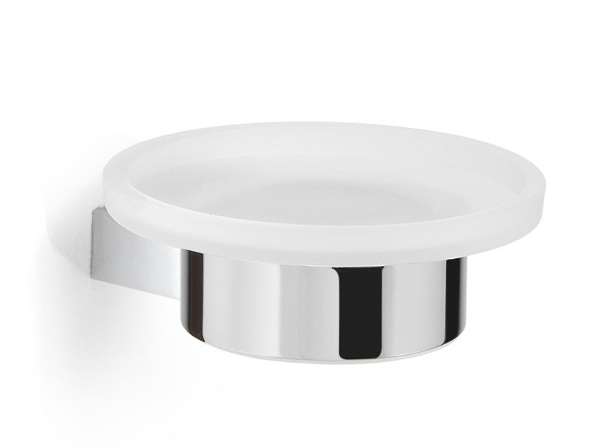 Wall-mounted satin glass soap dish CANARIE | Wall-mounted soap dish by GEDY