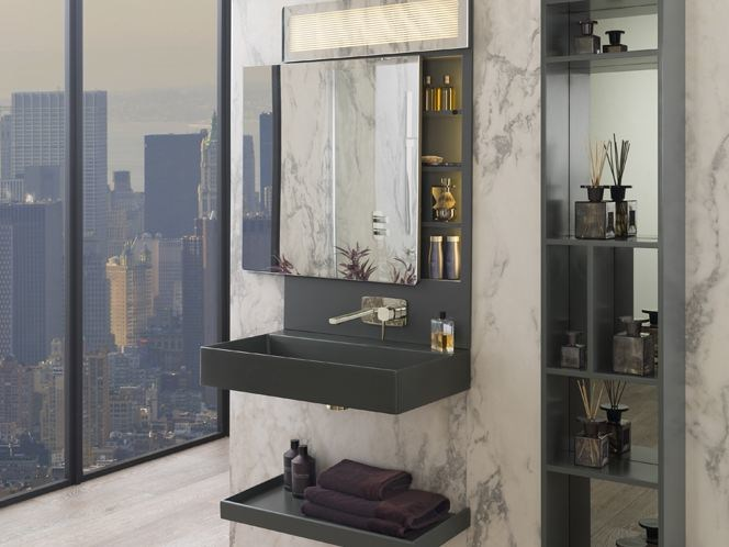 Wall-mounted vanity unit with mirror PURE LINE   Wall-mounted vanity unit by Noken