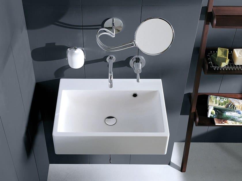Rectangular wall-mounted Cristalplant® washbasin BLOCK   Wall-mounted washbasin by Agape