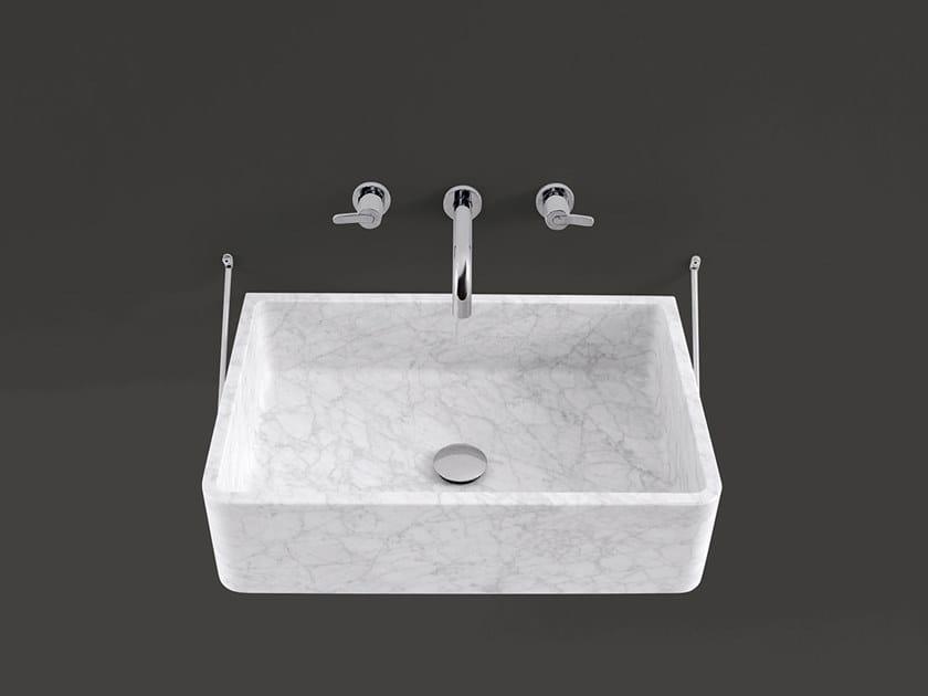 Rectangular wall-mounted Carrara marble washbasin CARRARA | Wall-mounted washbasin by Agape