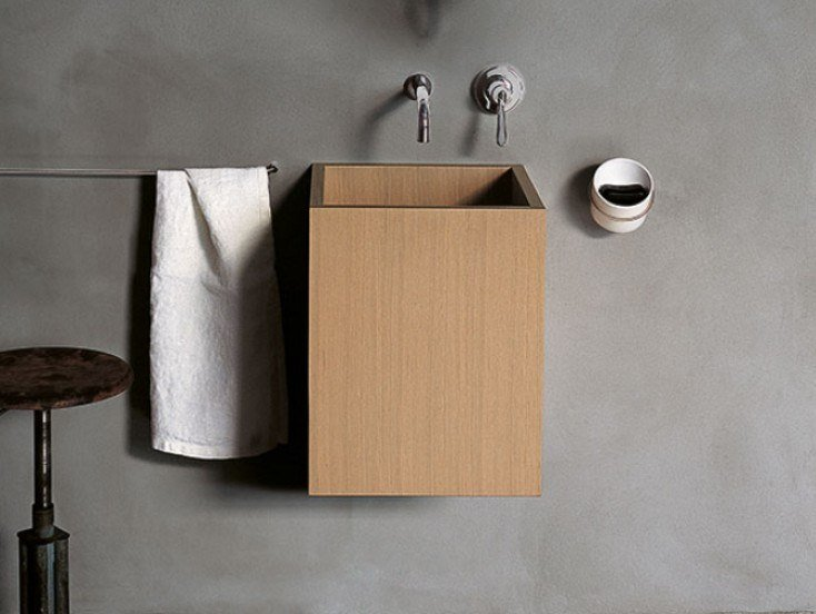 Square wall-mounted multi-layer wood washbasin CUBE | Wall-mounted washbasin by Agape