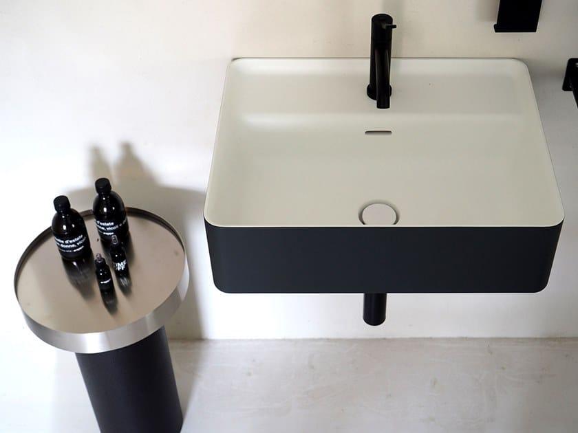 Rectangular wall-mounted Cristalplant® washbasin MARSIGLIA | Wall-mounted washbasin by Agape