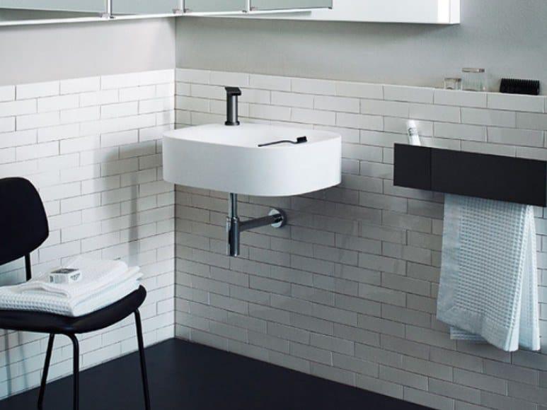Rectangular wall-mounted Cristalplant® washbasin NIVIS   Wall-mounted washbasin by Agape