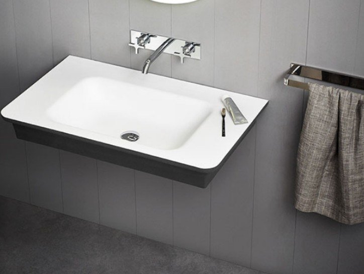 Rectangular wall-mounted Cristalplant® washbasin NOVECENTO XL | Wall-mounted washbasin by Agape