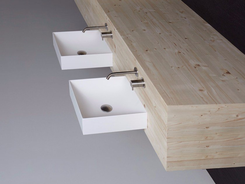 Square wall-mounted Flumood® washbasin STRATOS | Wall-mounted washbasin by Antonio Lupi Design
