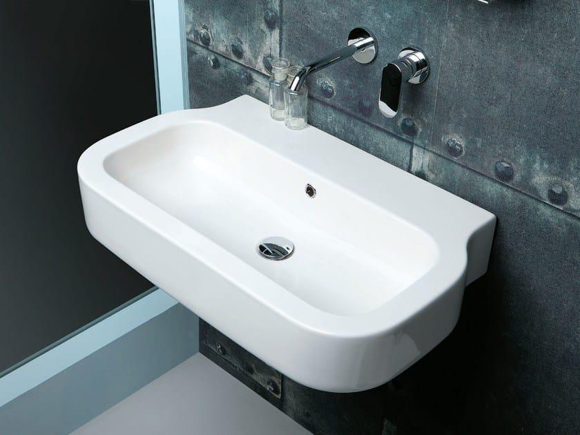 Wall-mounted ceramic washbasin GLAZE | Wall-mounted washbasin by AZZURRA sanitari