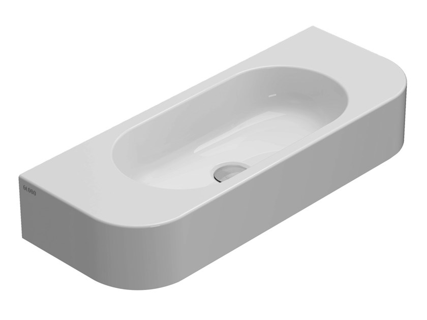 Oval wall-mounted ceramic washbasin FORTY3 | Wall-mounted washbasin by Ceramica Globo