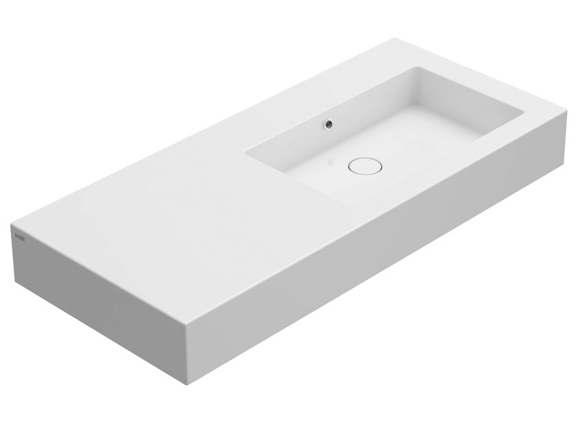 Rectangular ceramic washbasin with integrated countertop INCANTHO | Wall-mounted washbasin by Ceramica Globo
