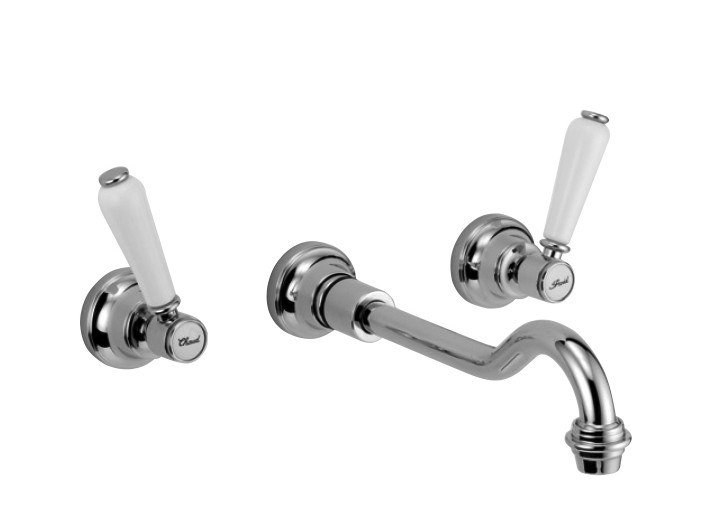 Wall-mounted brass washbasin mixer with individual rosettes BOSTON   Wall-mounted washbasin mixer by I Crolla Rubinetterie