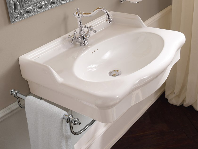 Single wall-mounted ceramic washbasin CASTELLANA | Wall-mounted washbasin by Scarabeo Ceramiche