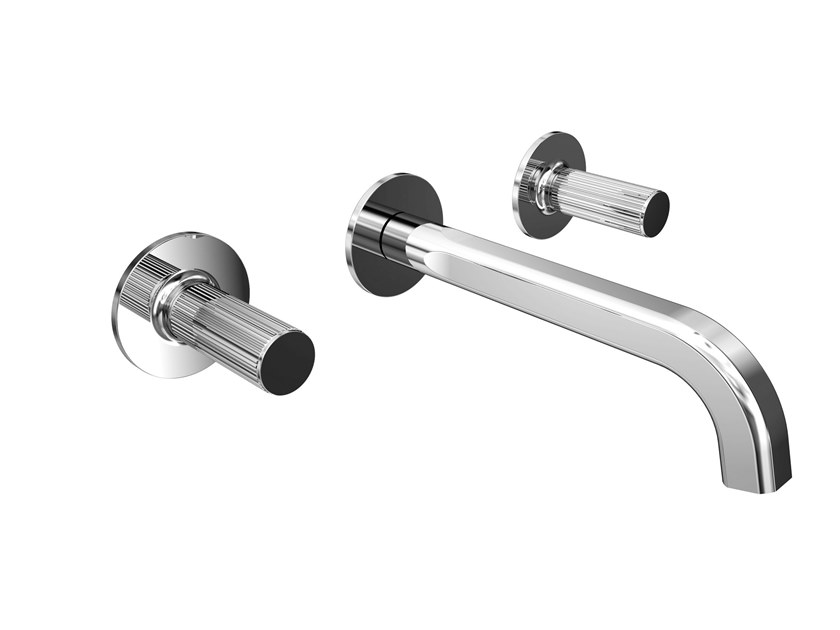Wall-mounted washbasin tap with individual rosettes FUSION MONO | Wall-mounted washbasin tap by BIANCHI RUBINETTERIE