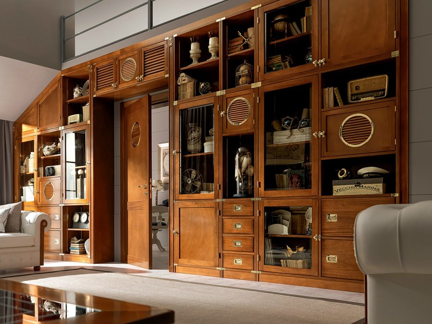Sectional solid wood storage wall WALL | Sectional storage wall by Caroti