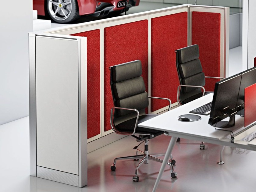 Sound absorbing free standing workstation screen WALL SYSTEM – OPEN SPACE by Arcadia