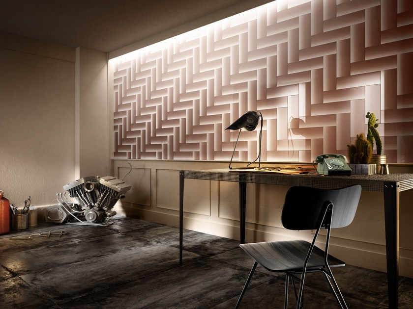 Porcelain stoneware wall tiles with metal effect SHADES OF BLINDS by Iris Ceramica