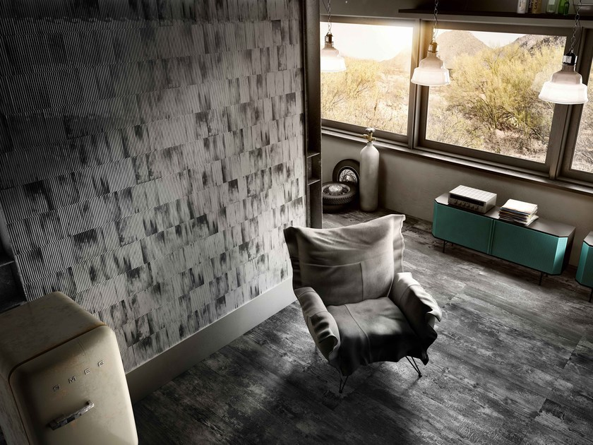 Porcelain stoneware wall/floor tiles with metal effect RIBBED OXIDE by Iris Ceramica
