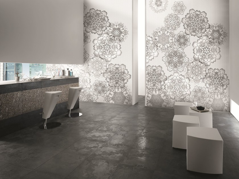 Motif panoramic nonwoven wallpaper WALLPAPER PEARL MACRAMÈ MODERNO by AVA Ceramica