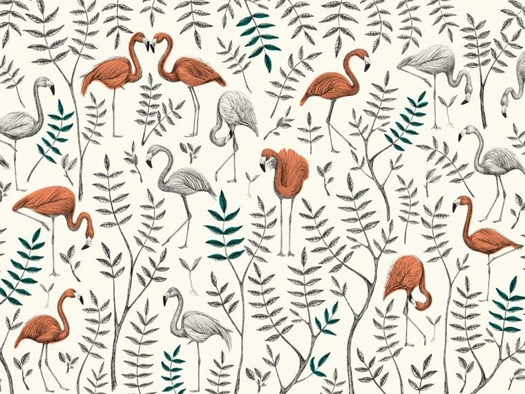 Tropical wallpaper, PVC free, eco, washable OASI ROSA by Wallpepper Group