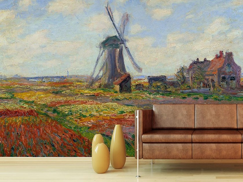 Trompe l'oeil wallpaper CHAMPS DE TULIPES EN HOLLANDE by Wallpepper