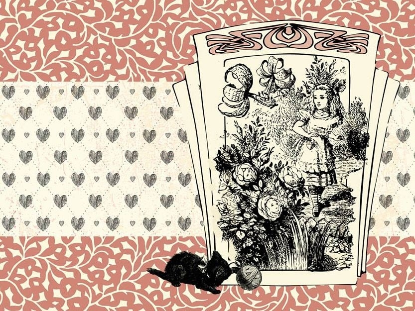 For all ages wallpaper, PVC free, eco, washable ALICE AND THE BLACK KITTEN by Wallpepper