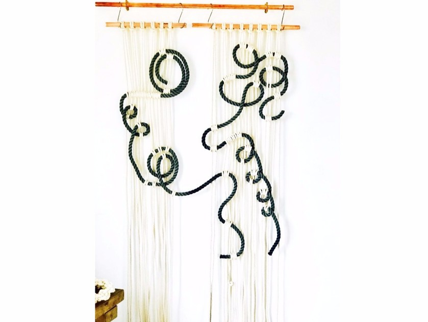 Macramè wall decor item WALLY ASTRATTO GRIGIO by Rope Studio London