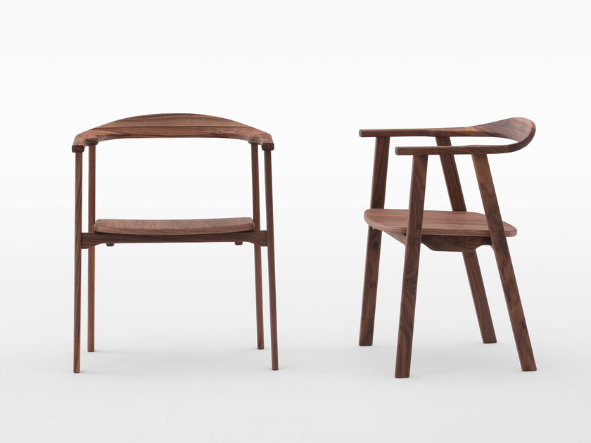 Stackable walnut chair with armrests TUKKI | Walnut chair by MEETEE