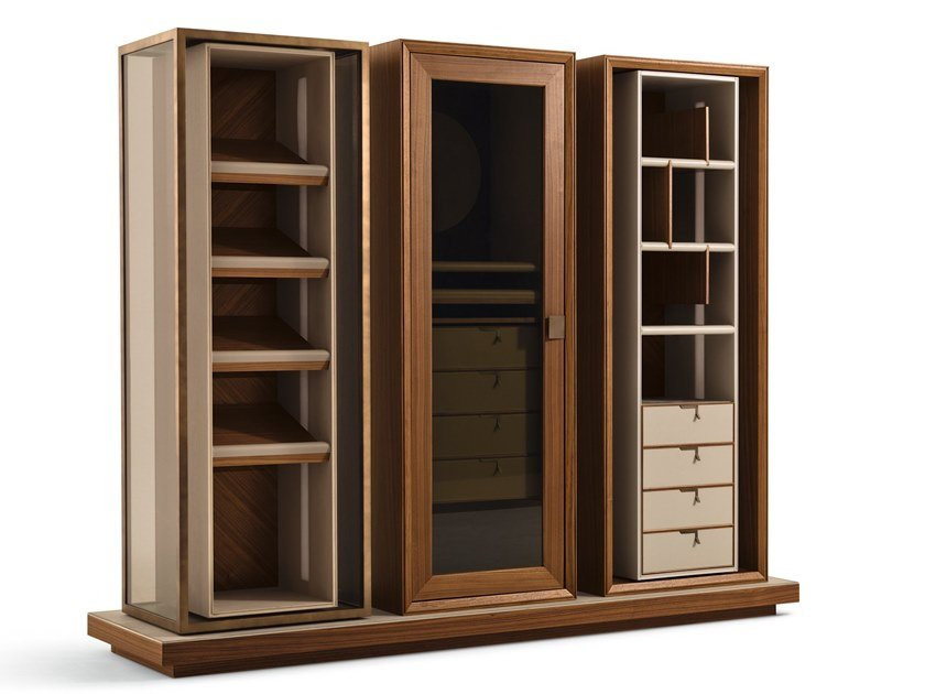 Sectional wooden wardrobe with drawers TOWN | Wardrobe by GIORGETTI