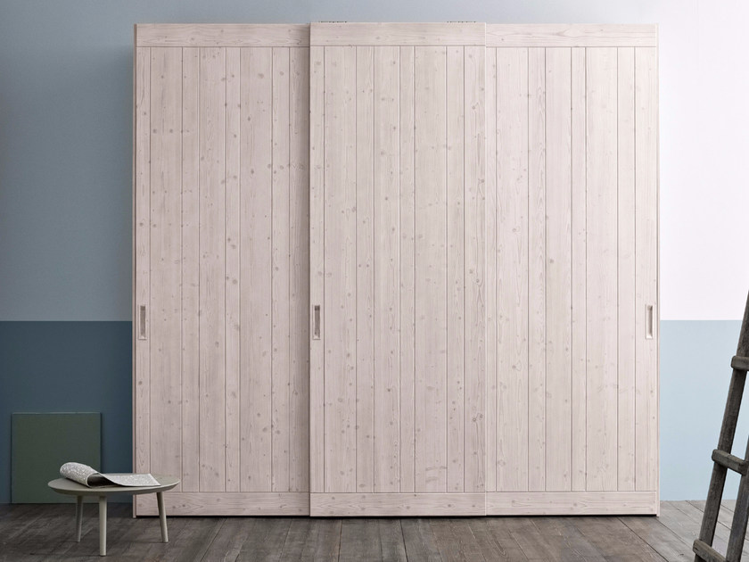 Sectional spruce wardrobe with sliding doors Wardrobe with sliding doors by Scandola Mobili