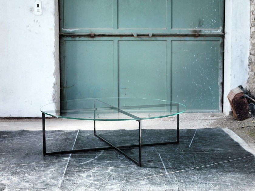 Oval glass coffee table for living room WARHOL | Oval coffee table by Domingo Salotti