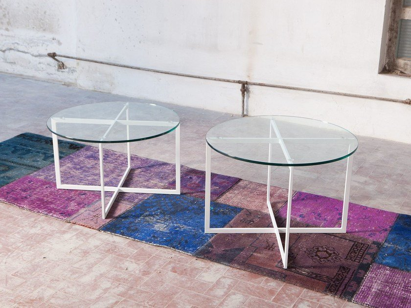 Round glass coffee table for living room WARHOL | Round coffee table by Domingo Salotti