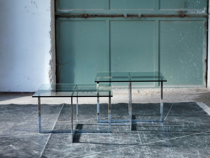 Square glass coffee table for living room WARHOL | Square coffee table by Domingo Salotti