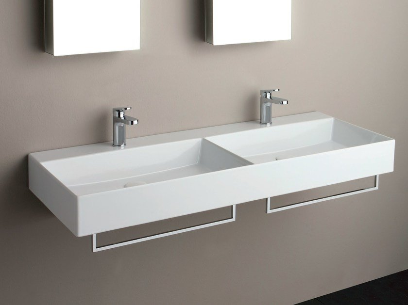 Double wall-mounted washbasin ELEGANCE SQUARED | Double washbasin by AZZURRA sanitari