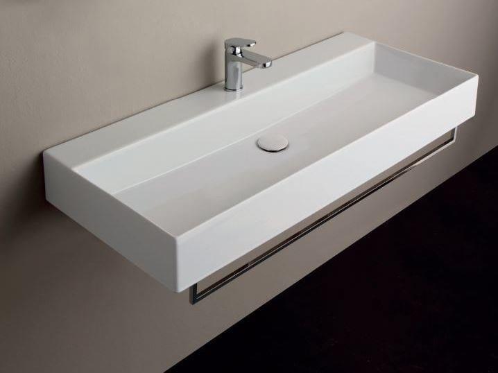 Wall-mounted ceramic washbasin ELEGANCE SQUARED | Wall-mounted washbasin by AZZURRA sanitari