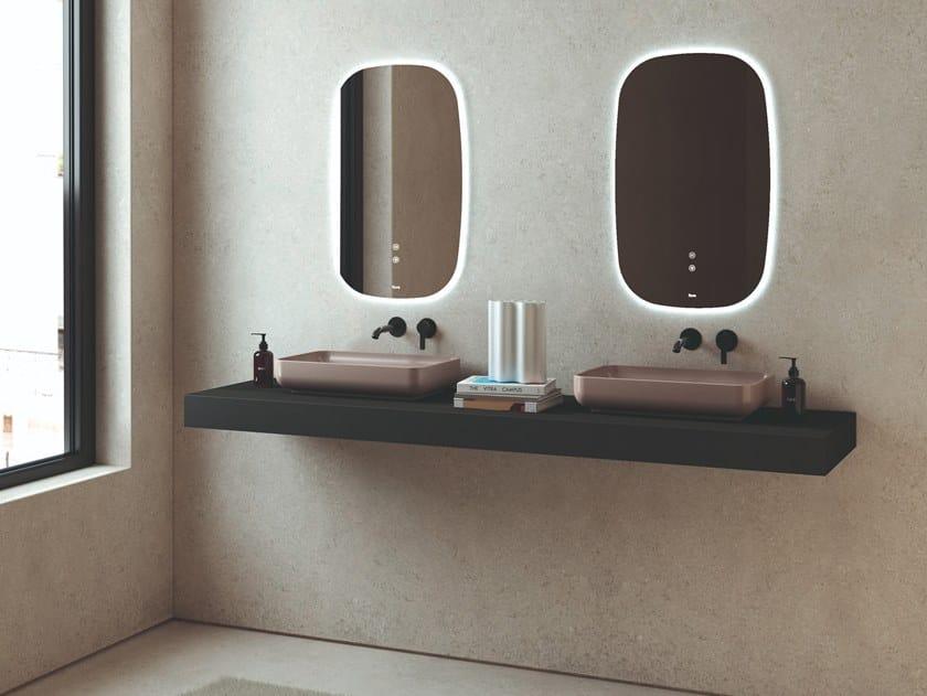 Lavabo doppio sospeso in Silexpol® con piano SILEXPOL   Lavabo by Fiora