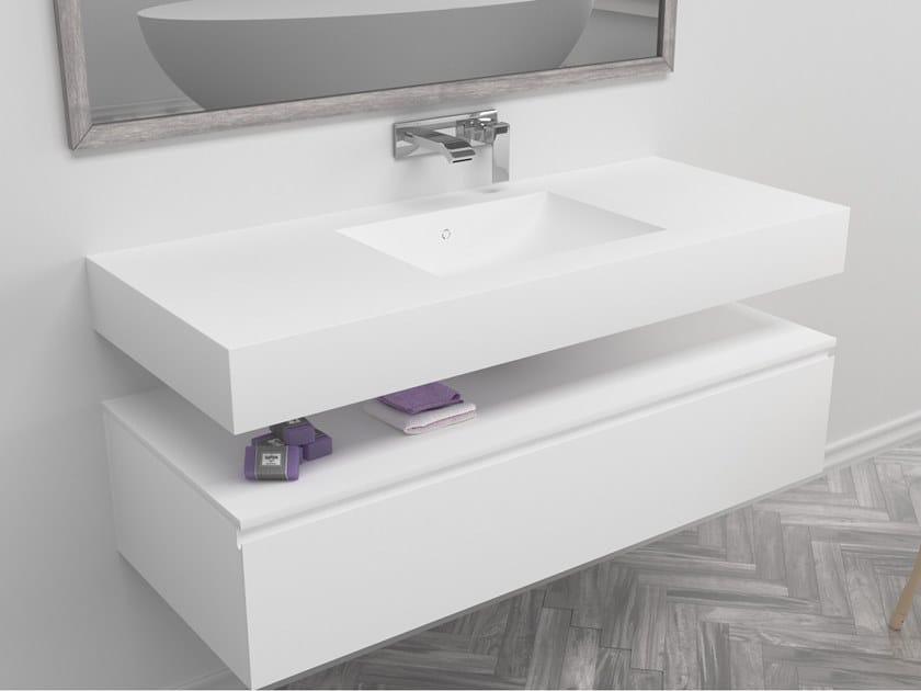 Rectangular single wall-mounted Corian® washbasin REFRESH | Single washbasin by RILUXA