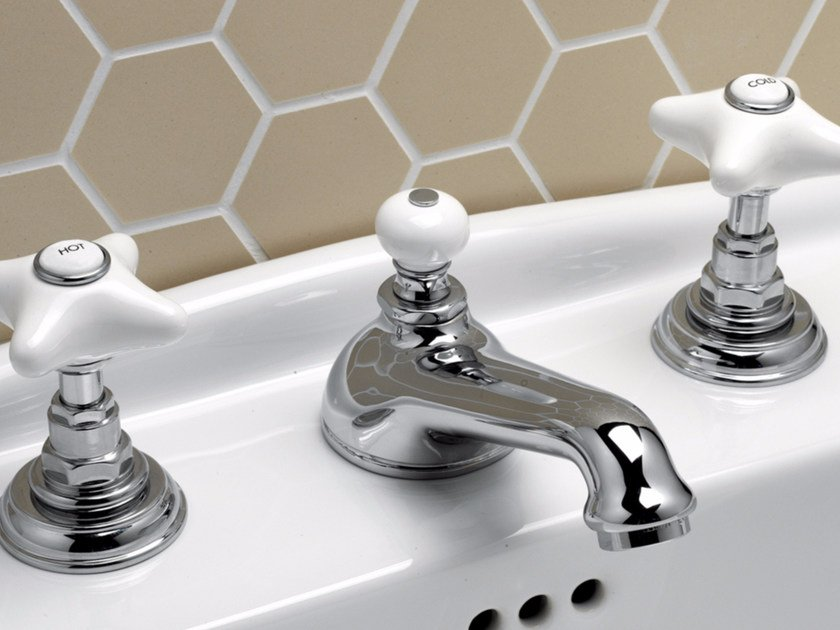 3 hole countertop washbasin tap with individual rosettes WHITE ROSE | Washbasin tap by Devon&Devon
