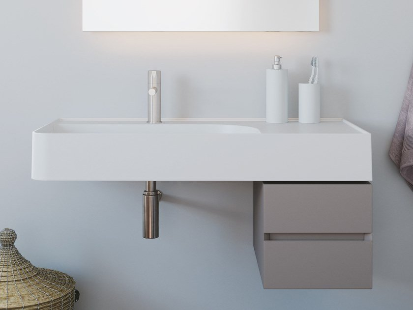 Solid Surface washbasin with drawers REVOLUTION® | Washbasin with drawers by ESEDRA by SDR CERAMICHE