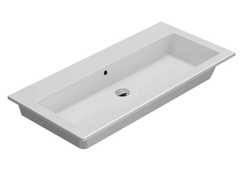 Rectangular wall-mounted ceramic washbasin FORTY3 | Washbasin with overflow by Ceramica Globo