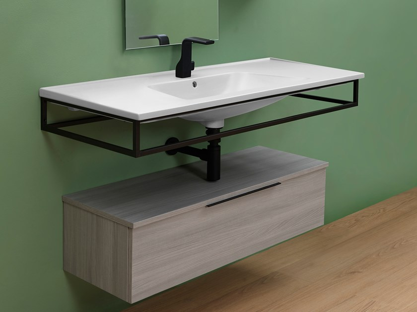 Wall-mounted washbasin with towel rail BLOOM | Washbasin with towel rail by CERAMICA FLAMINIA