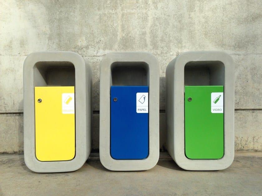 Fiber-reinforced concrete litter bin for waste sorting KID | Litter bin for waste sorting by SIT