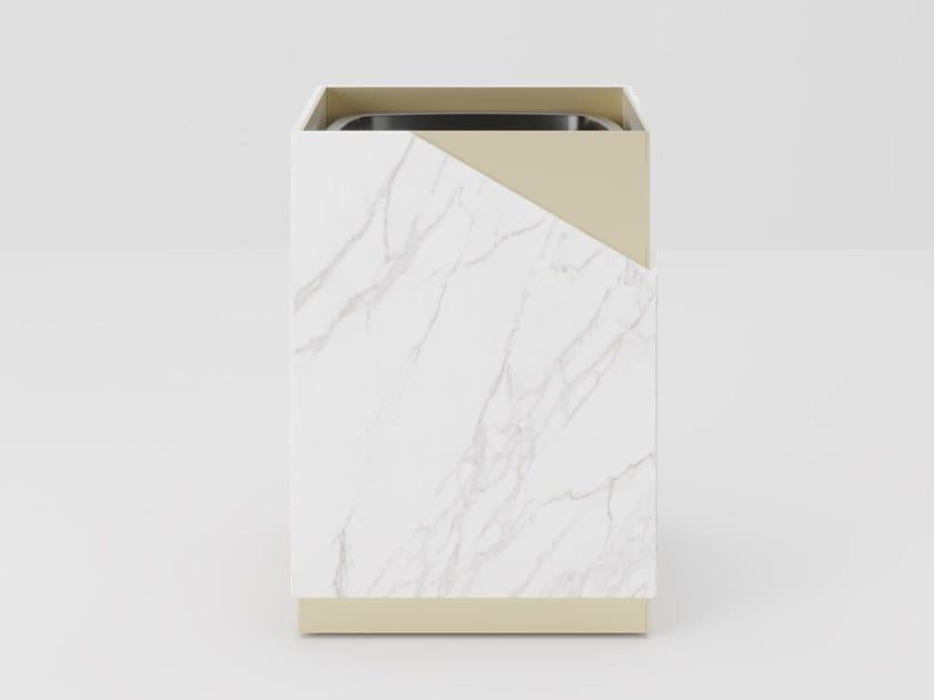 Glass and metal waste paper bin LOUISE   Waste paper bin by PROF