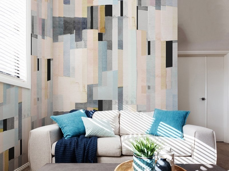 Contemporary style geometric washable Digital printing wallpaper GRAPHIC | Watercolor 01 by ACTE-DECO