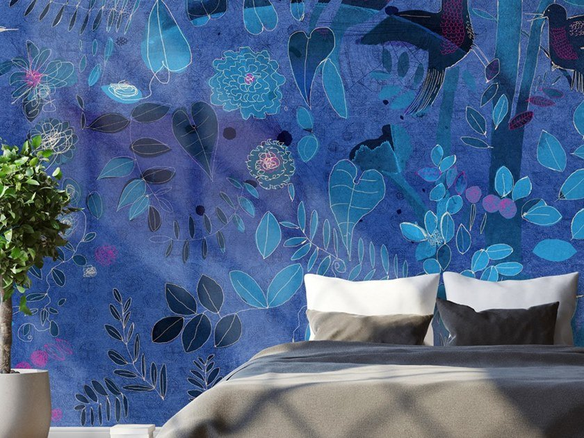 Ecological washable PVC free wallpaper WATERCOLOR AND NATURE IN BLUE by Wallpepper