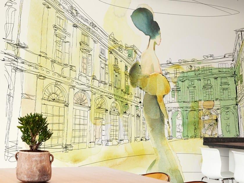 Papel de parede ecológico lavável livre de PVC WATERCOLOR AND PALAZZO SERBELLONI by Wallpepper Group