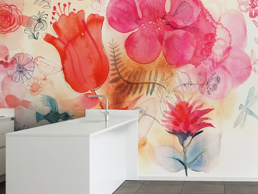Ecological washable PVC free wallpaper WATERCOLOR AND RED FLOWERS by Wallpepper